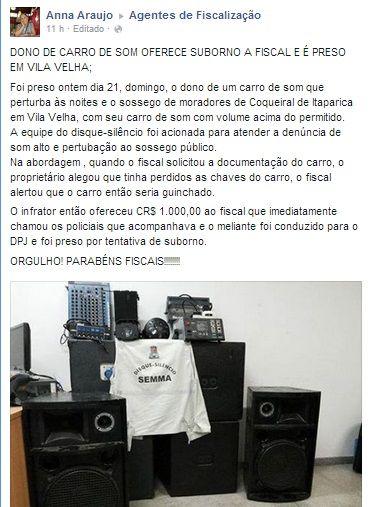 22/12/2014 - Anna Araújo conta sobre tentativa de subornar Fiscal em Vila Velha, ES