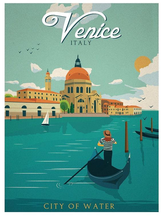 Vintage Venice City Of Water Italy Travel Art Poster Giclee Print Gondola Canal
