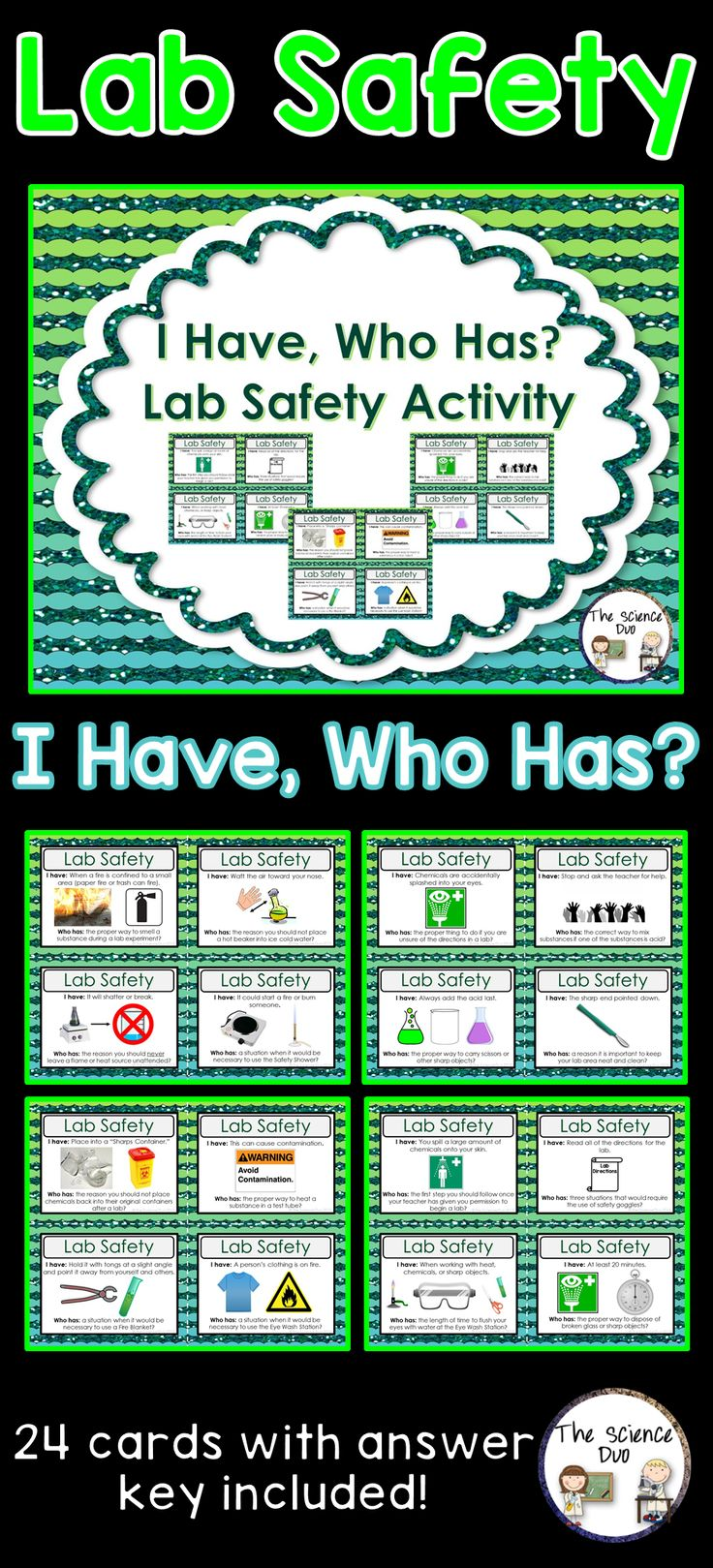 """Science Lab Safety """"I Have, Who Has"""" Activity. This Lab Safety set is sure to spark interest from all of your learners. This activity includes 24 unique """"I Have, Who Has"""" statements. Use this with your entire class as review to get all of your students to participate."""