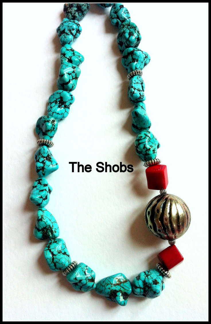 £20 A perfect day for wearing a bold Turquoise Necklace. This combination of colours really works, Turquoise and Red Coral! Perfect for Spring/Summer.