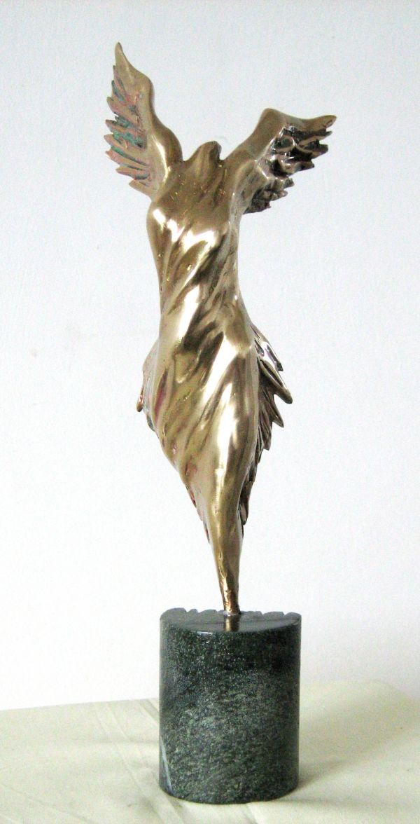Bronze Small / Little Abstract Contemporary Sculptures / statue by artist Liubka Kirilova titled: '`Nike` (bronze Victory Goddess Contemporary abstract statuette statue)'