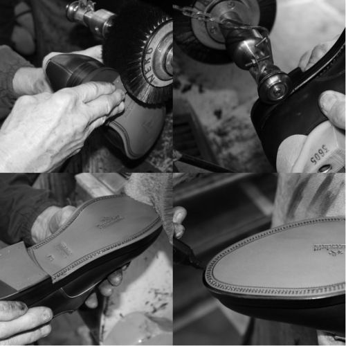 The soles and heels are then stained and hot wax is applied to the edges to provide waterproof seal and good shine. The soles can be finished with various wheel and painted in two colors. #franceschetti handmade shoes Made in Italy