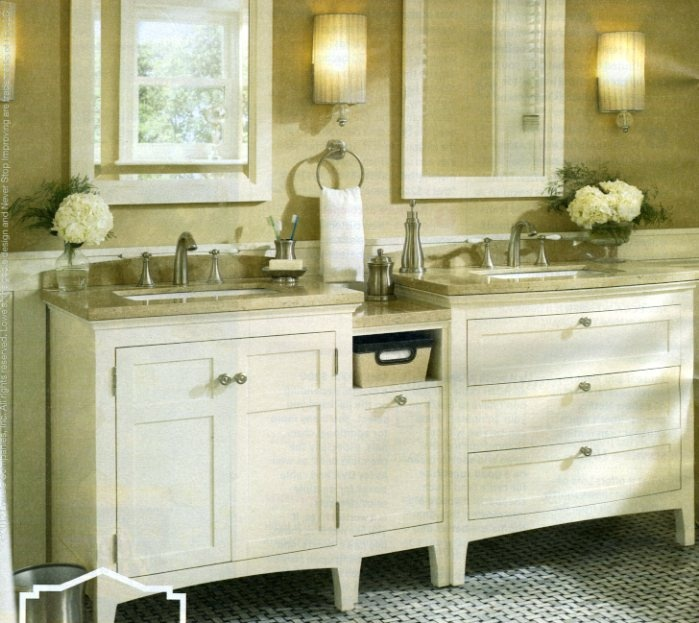 give your bathroom a classic elegance with a white vanity and brushed nickel accessories