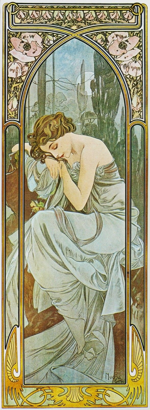 Alfons Mucha. 1899 Nights Rest. The Hours of the Day.