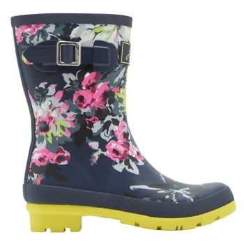 Joules - a British Lifestyle brand recognised by distinctive colours, prints, detail & quality encompassing values of heritage, countryside, Britishness, family and fun.  Joules ever-popular Molly is designed shorter to suit all heights and calf sizes. In some of our favourite prints they're a real British weather essential. http://www.marshallshoes.co.uk/womens-c2/joules-womens-mollywelly-short-printed-french-navy-floral-boot-p3963