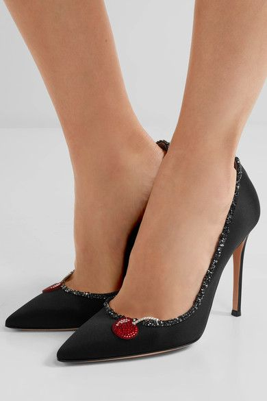 Gianvito Rossi - Crystal-embellished Appliquéd Satin Pumps - Black - IT37.5