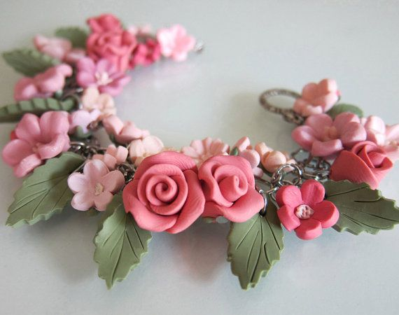 Flower Bridal Charm Bracelet - Polymer Clay