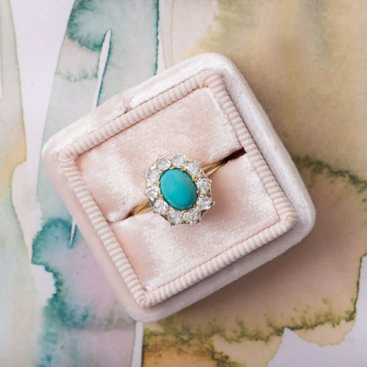 Amazing vintage turquoise & diamond ring <3