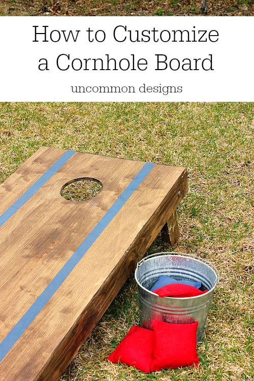 How to Customize a Cornhole Board #FrogTape #ad www.uncommondesignsonline.com