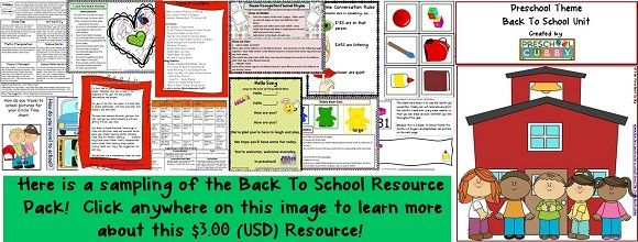 I have turned many of the activities from this page into ready-to-use activities in my Back To School Preschool Theme Unit resource pack.  It includes a completed weekly lesson plan form and daily planning forms complete with instructions for each activity.  This resource is available in my Teachers Pay Teachers Store:  The Preschool Cubby:  for $3.00 (USD).