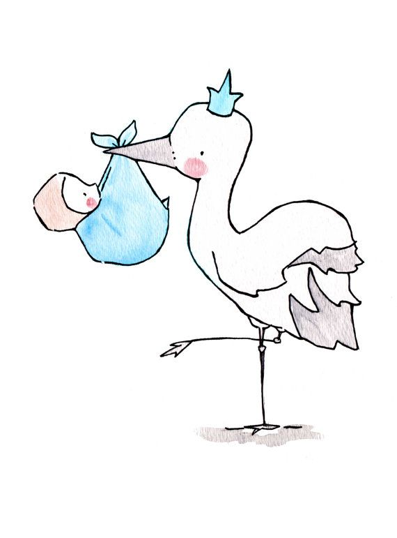 Stork Queen/King  8x10 Nursery Art Illustration Print, Pink, Blue
