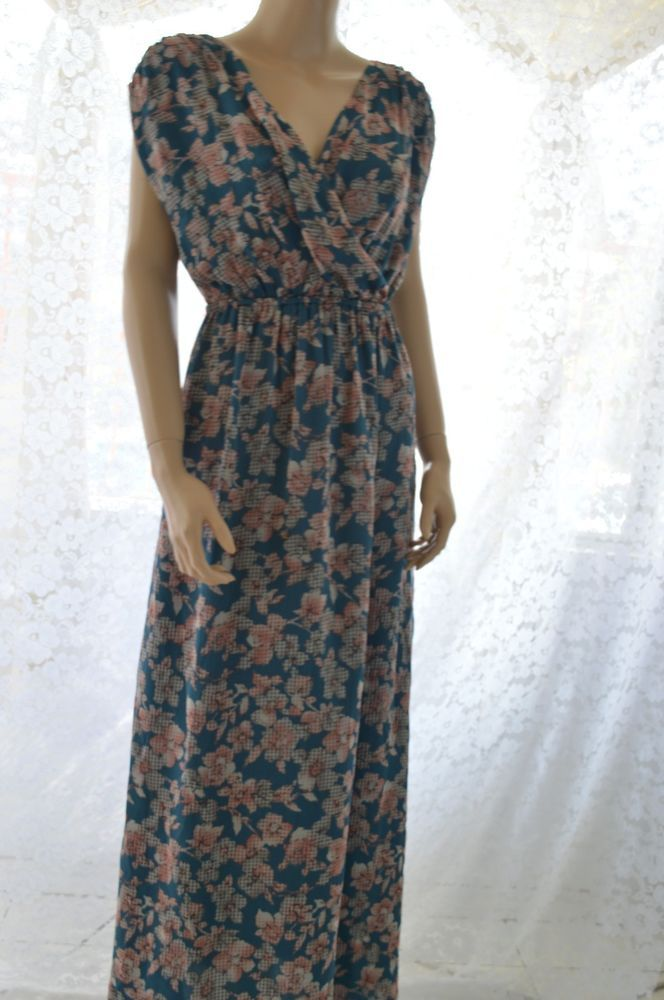 NWT Ro & De Maxi Dress Nordstrom Stretched Sleeve Green on Pink Floral Sz Small #RoDe #Maxi #SummerBeach