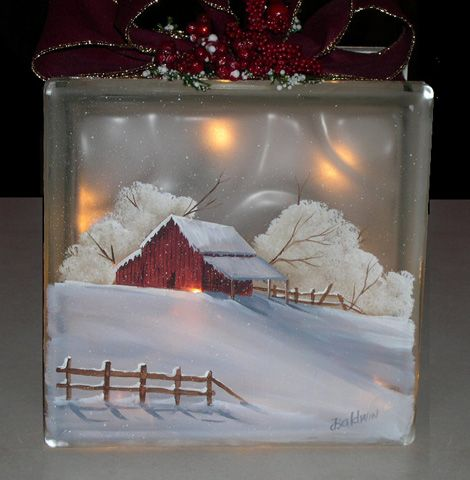 pat i just love this scene.  you paint this for me!!!  of course this is on a glass block with lights inside but it could be on canvas and u paint the lights on it!?!?Winter Barn
