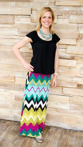 Amy - Chevron striped Knit Maxi Skirt.  Great colors and easy style for work or for the weekend.
