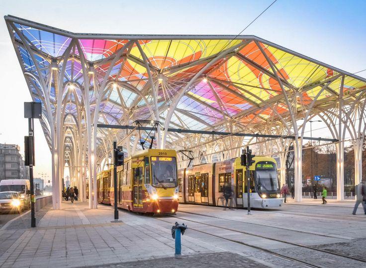 New tram stop in city centre of Łódź, Poland