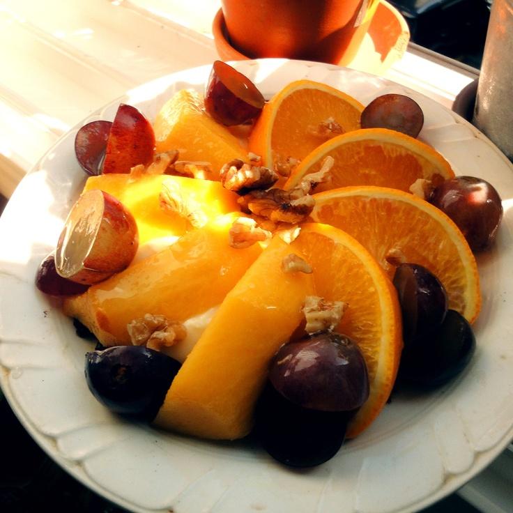 Cream cheese tart with fruit by HoniBee.  #dessert. #orange.