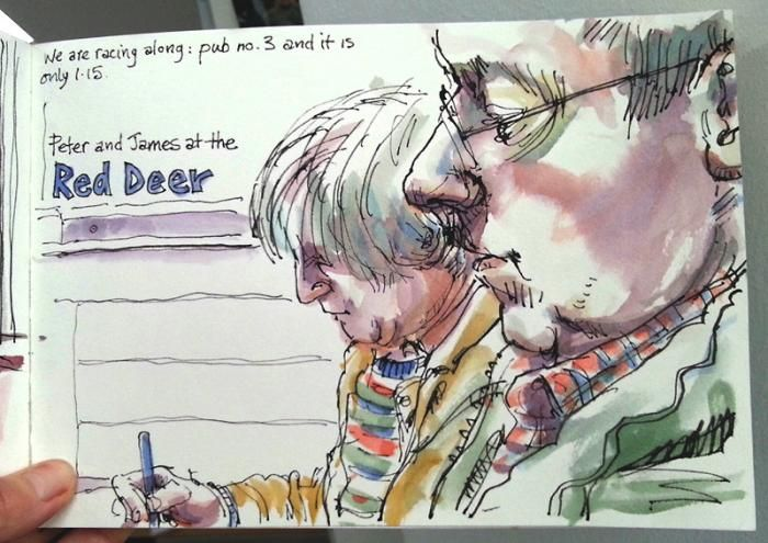 The Great Sheffield Pub SketchCrawl - drawing my fellow sketchers in The Red Deer. Lynne Chapman