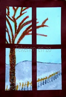 Make a landscape painting (fall or winter theme) then cut into four pieces and mount on brown paper.