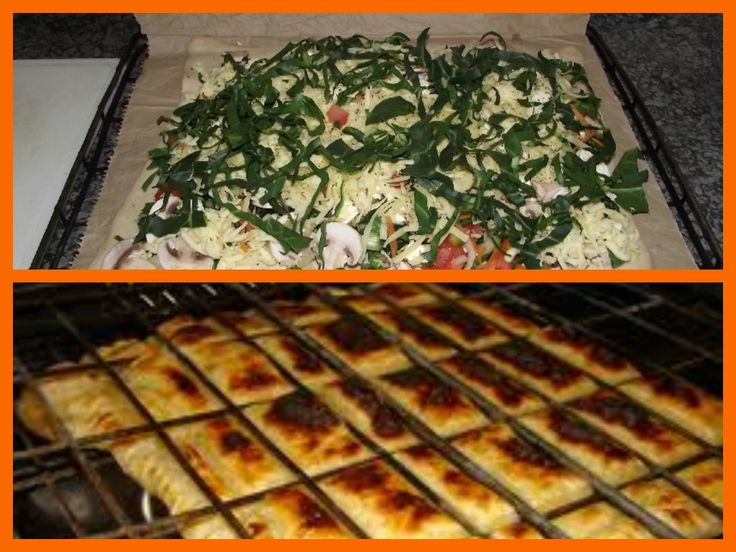 Braai Pie: 2 sheets Puff Pastry Olives Onions Tomato Garlic Spinach Cheese and whatever else you fancy Place 2nd sheet on top. Close sides tightly lightly smear milk on top and set on open fire. very low coals. Keep turning and basting with milk.