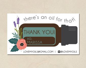 printable mommy calling cards - hand illustrated essential oils design1 - personalized thank you - doterra business cards - DIY - customized