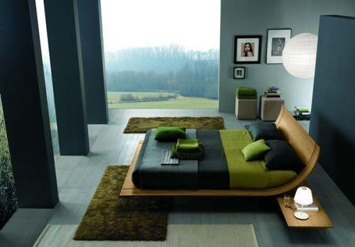 blue, grey, green, black combo bedroom by StarMeKitten: Decor, Interior Design, Ideas, Contemporary Bedroom, Beds, Bedroom Design, Bedrooms, House