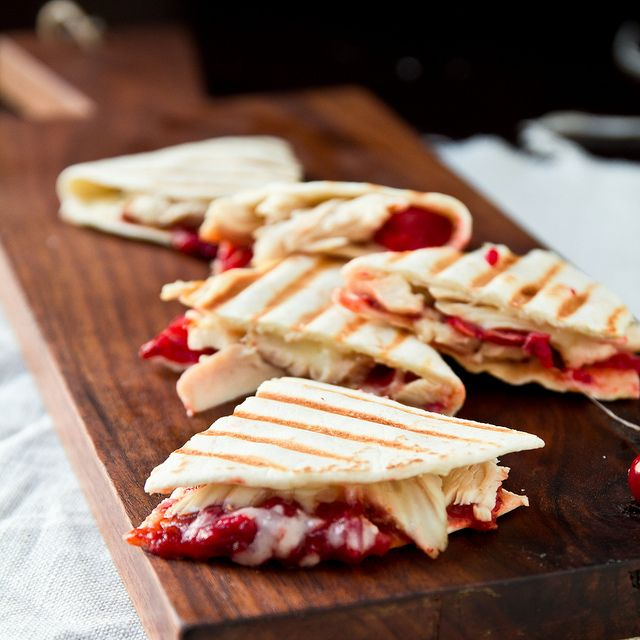 Turkey Quesadillas with Chipotle-Cranberry Sauce - what to do with those leftovers