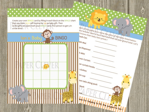 jungle theme baby shower game baby bingo by paperclever