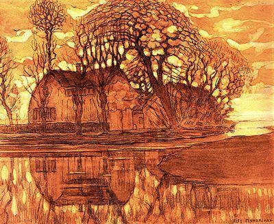 Farm at Duivendrecht by Piet Mondrian. Post-Impressionism. landscape