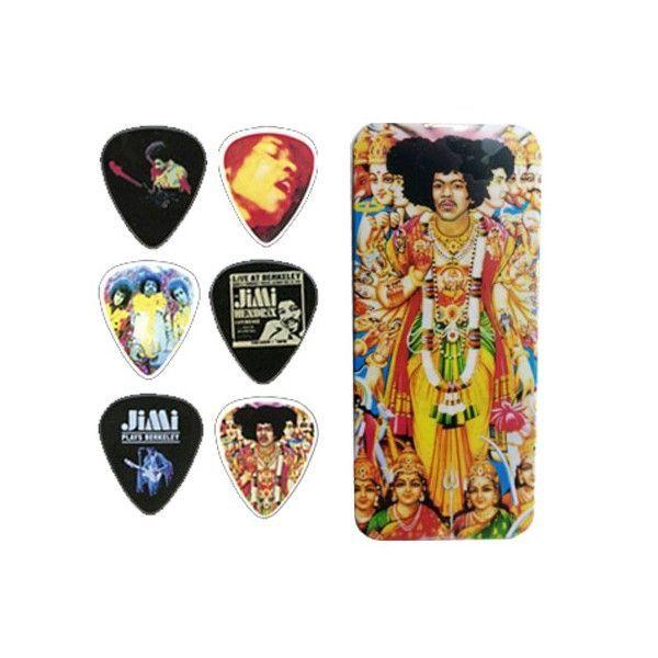 Jimi Hendrix Tin of 12 Medium Guitar Picks Axis Bold As Love. 6 different pick designs on 12 medium gauge picks featuring images of Hendrix. $14.95