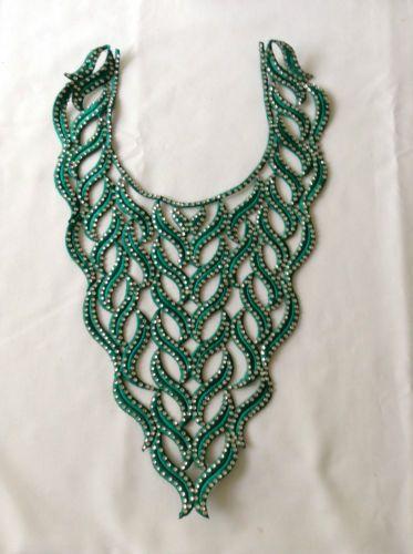 Sew-On-Diamante-Beaded-Indian-Lace-Trim-Neckline-Motif-Wedding-Applique-Patch