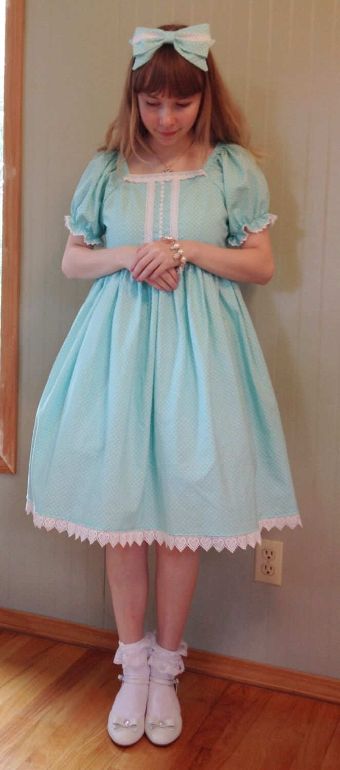 Aqua polka dot Lolita Dress by PrettyFairytale on Etsy https://www.etsy.com/listing/239166003/aqua-polka-dot-lolita-dress
