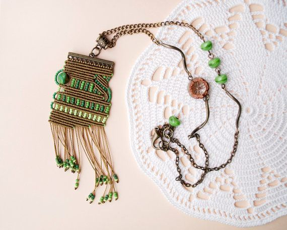 Unique micro macrame necklace, pendant - Green Bronze Tassel Beadwork OOAK Bohemian