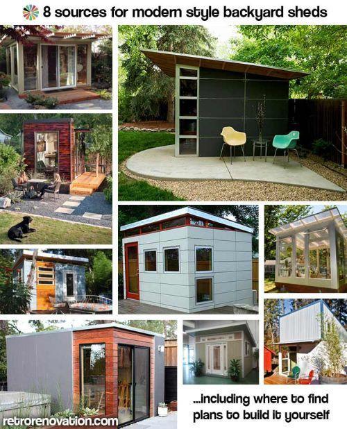 Backyard studio office inspiration!! 8 Sources for midcentury modern sheds — prefab, DIY kits, and plans