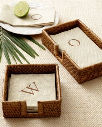 Jute Napkins by Caspari at Horchow (and the holder, too).