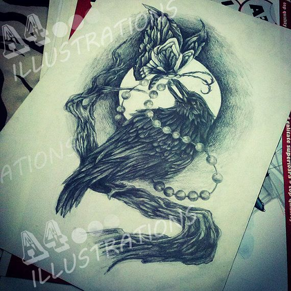 the crow chasing the butterfly by freerora on Etsy