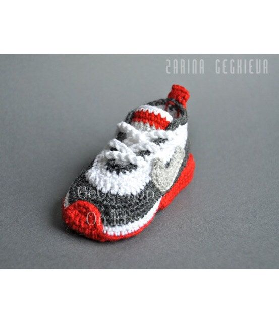 Crochet baby sneakers - crochet shoes -baby Nike - unique gift -baby shower - red gray -crochet baby shoes - Nike air by Kezga on Etsy