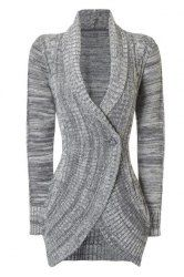 Stylish Shawl Collar Long Sleeve Slimming Cable Cardigan For Women (GRAY,S) | Sammydress.com Mobile