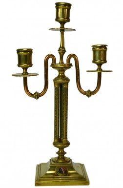 Agate Gem Set Brass 3 Branch Candelabra, Antique English Victorian Aesthetic Movement, circa 1875