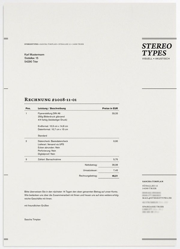 invoice / good template for freelance design invoicing