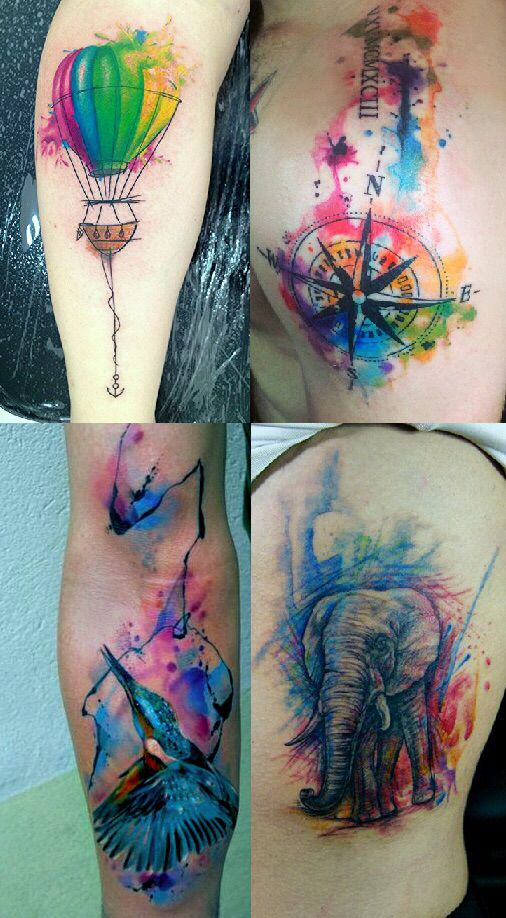 ~ TATTOO ART ~ Watercolor Hot Air Balloon, Compass, Elephant & Hummingbird tattoo designs