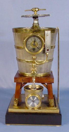 French Industrial Clock Formed As A Wine Press
