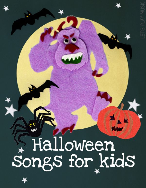 A collection of 11 Halloween Songs and Musical Activities for Kids - action songs, free printables, board games, rhythm cards, listening games and a spooky songs playlist.