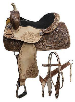 "14"",15"", 16"" Double T Barrel saddle with rainbow crystal rhinestones. MPN 7861"