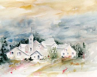 Original Painting Of A French Village With Houses And Church In