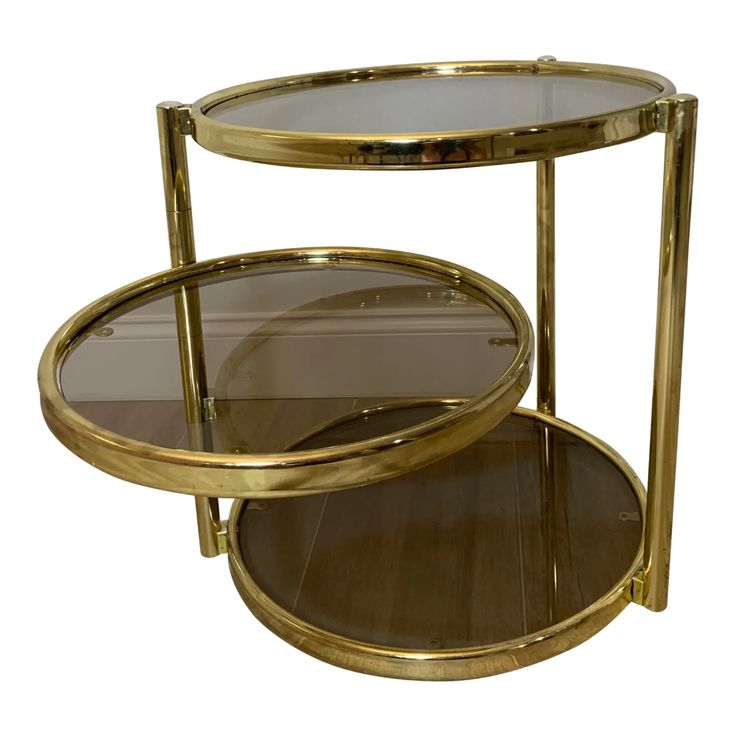 1970s hollywood regency 3 tier gold circular smoked glass