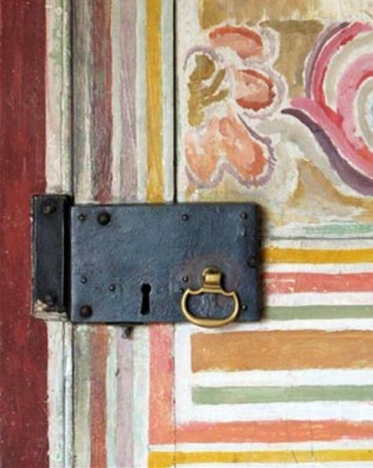 detail of doorway painted by Vanessa Bell at Charleston