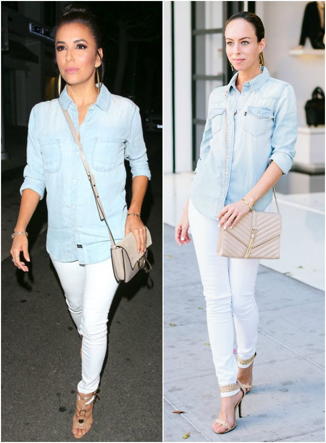 Victoria Beckham Wears White T-Shirt and Blue Pants ...