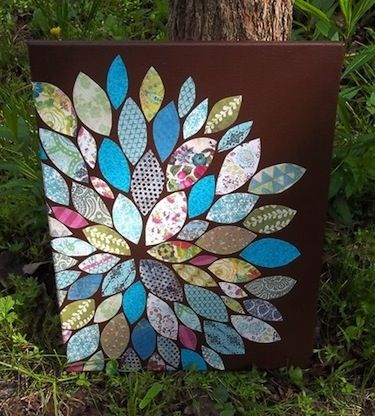 Floral Patchwork Canvas...using either decorative paper or fabric strips and mod podge
