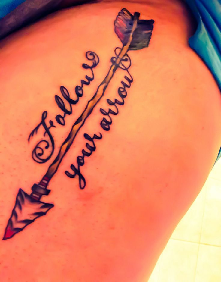 Follow your arrow tattoo on my thigh