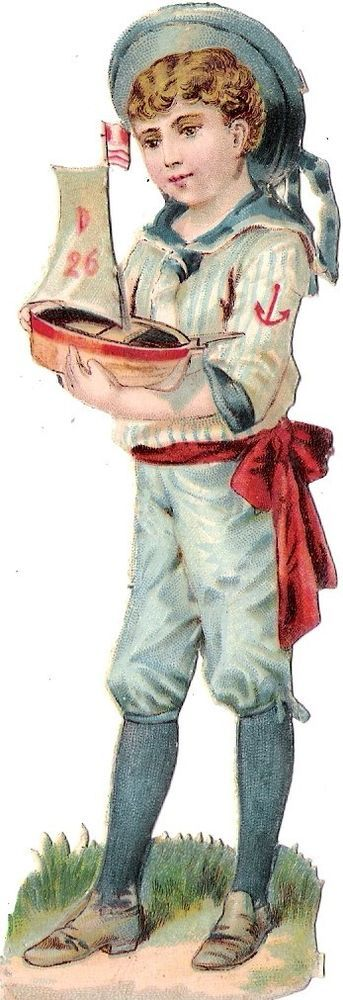 Oblaten Glanzbild scrap die cut chromo Kind child 13 cm Matrose Boot boat Schiff